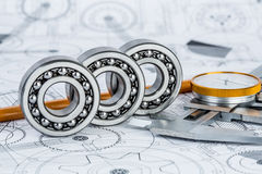 Ball bearings on technical drawing Stock Photos