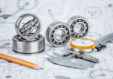 Ball bearings on technical drawing. Technical drawings with the Ball bearings stock illustration