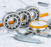 Ball bearings on technical drawing. Technical drawings with the Ball bearings royalty free illustration