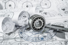 Ball bearings on technical drawing. Technical drawings with the Ball bearings royalty free stock images