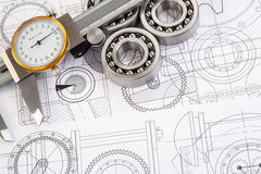 Ball bearings on technical drawing. Technical drawings with the Ball bearings stock photos