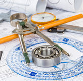 Ball bearings on technical drawing. Technical drawings with the Ball bearings royalty free stock photo