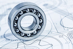 Ball bearings on technical drawing. Technical drawings with the Ball bearings royalty free stock image