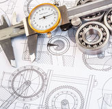 Ball bearings on technical drawing. Technical drawings with the Ball bearings royalty free stock photos