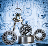 Ball bearings on technical drawing. Technical drawings with the Ball bearings a blue toning royalty free stock photos