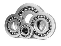 Ball bearings. On white background. 3d rendering image Royalty Free Stock Image