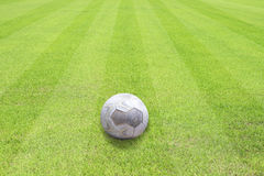 Ball on beautiful green grass of football sport Royalty Free Stock Photo