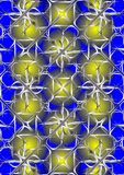 The ball behind bars. Metal yellow ball of decorative lattice, on a blue background Royalty Free Stock Photography