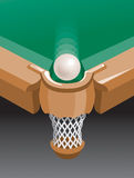 Ball at billiard-pocket. Billiard-pocket billiard table. Hand vector image royalty free illustration