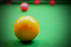 Ball billiard pool in snooker game. Yellow Ball billiard pool in snooker game Stock Photos