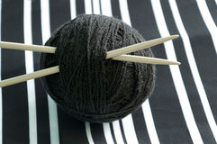 Ball of black woolen thread Royalty Free Stock Images