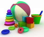 Ball, blocks, pyramid, bucket with a shoulder-blade. 3d render illustration of child's toys. Ball, blocks, pyramid, bucket with a shoulder-blade Stock Photos