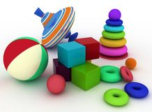Ball, blocks, pyramid and spinning top. 3d render illustration of child's toys. Ball, blocks, pyramid and spinning top Royalty Free Stock Image