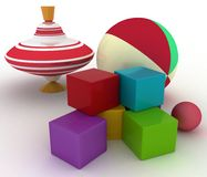 Ball, blocks and spinning top Stock Photos