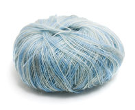 Ball of blue wool isolated Stock Photography
