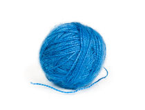Ball of blue wool yarn Royalty Free Stock Image
