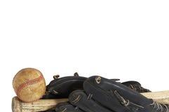 Ball border. Baseball macro scene on white Royalty Free Stock Image