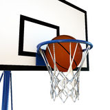 Ball bouncing on a basketball backboard Royalty Free Stock Images