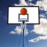 Ball bouncing on a basketball backboard Royalty Free Stock Image