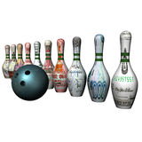 Ball of bowling and denomination on bowling size. Ball of bowling and denomination of the different countries on bowling size, a white background royalty free illustration