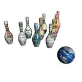 Ball of bowling and denomination on bowling size Royalty Free Stock Images