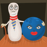 Ball with bowling pin Royalty Free Stock Image