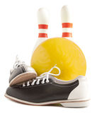 Ball, bowling shoes and bowling pin. On a white background Stock Photo