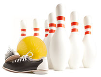 Ball, bowling shoes and bowling pin. On a white background Royalty Free Stock Image