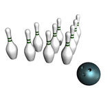 Ball and bowling size Stock Images
