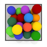 Ball into the box. Whole lot of square boxes.12 colored balls. Red, orange, yellow, green, blue, light blue, purple, colorful balls.Kids toy.Transparent box Royalty Free Stock Photos