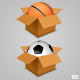 The ball in the box Royalty Free Stock Photos