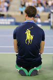 Ball boy on tennis court at the Billie Jean King National Tennis Center during US Open 2014 Stock Image