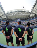 Ball boys on Arthur Ashe Stadium during US Open 2016 at the Billie Jean King National Tennis Center Stock Images