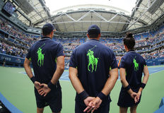 Ball boys on Arthur Ashe Stadium during US Open 2016 at the Billie Jean King National Tennis Center Stock Photo