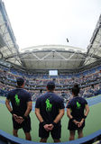 Ball boys on Arthur Ashe Stadium during US Open 2016 at the Billie Jean King National Tennis Center Stock Photos