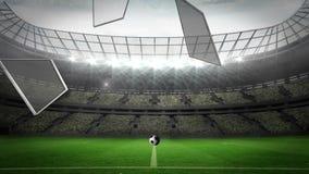 Ball breaking glass into large football stadium