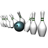 The ball breaks bowling size Stock Photography