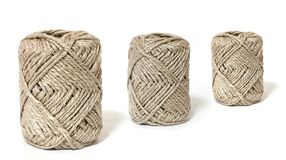 Ball of brown yarn on white. Background Royalty Free Stock Images