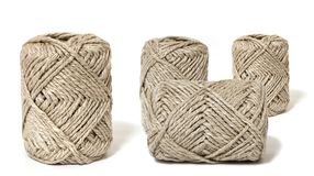 Ball of brown yarn on white. Background Royalty Free Stock Photos
