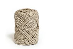 Ball of brown yarn on white. Background Stock Photo