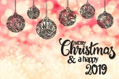 Ball, Calligraphy Merry Christmas And A Happy 2019, Pink Background royalty free stock photo