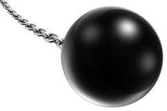 Ball and Chain. 3D illustrated ball and chain, isolated on white background Royalty Free Stock Photo