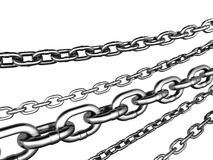 Ball and Chain. 3D illustrated, heavy duty chain, isolated on white background Royalty Free Stock Images