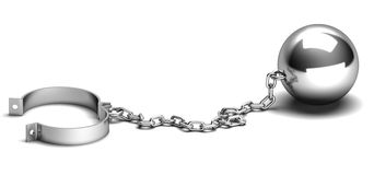 Ball and chain Royalty Free Stock Images