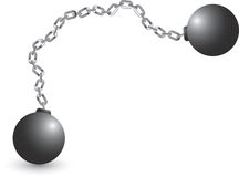 Ball and chain. Picture of a ball and chain Stock Photos