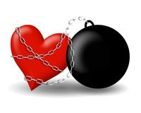 Ball And Chain Chained To Heart royalty free illustration