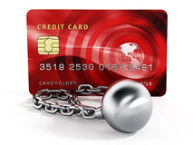 Ball and chain connected to credit card. 3d illustration.  Stock Image