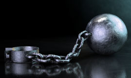 Ball And Chain Dark Royalty Free Stock Photo