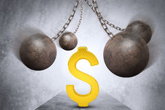 Ball and chain with dollar sign Stock Photos