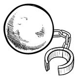 Ball and chain drawing Royalty Free Stock Photography